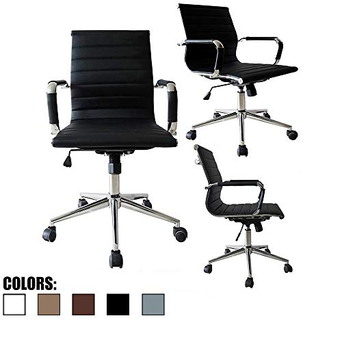 2xhome Mid Century Office Chair with Arms Wheels Modern Desk Chair Ergonomic Executive Chair Mid Back PU Leather Arm Rest Tilt Adjustable Height Swivel Task Computer Conference Room Black