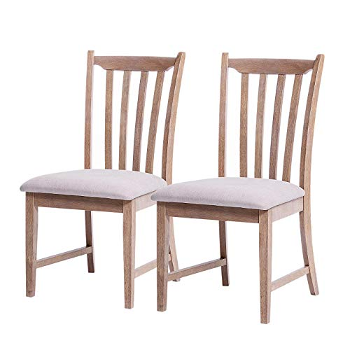 Furgle Dining Chair Set of 2, Rubber Wood Furniture Kitchen Seat with Vertical Slatted Back and Upholstered Seat Covered Microfiber Cushion for Kitchen Dining Living Bed Room Cafe Restaurant (Sets Microfiber Furniture)