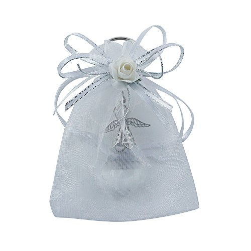 12 Pcs Angel Crystal Keychain Decorated Organza bag - Wedding Favors / Baptism Favors / Quinceanera Favors / First Communion Favors ()