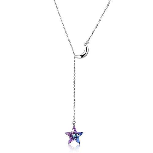 Plata de Ley 925 Amatista Colgante Collar Mujer con Cristales Estrella, Regalos Navidad Viene con Caja de Regalo, sin Níquel, Cadena 45cm