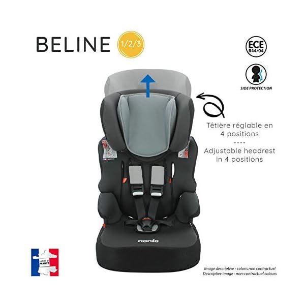 Seggiolino auto Beline gruppo 1/2/3 (9-36 kg), con protezione laterale, prodotto in Francia (grigio) 3
