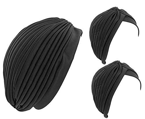 Fair Deal Wholesale Lot-3 Pack Stretch Turbans Head Cover Pleated turban Sun Cap (Black/3 PCS)