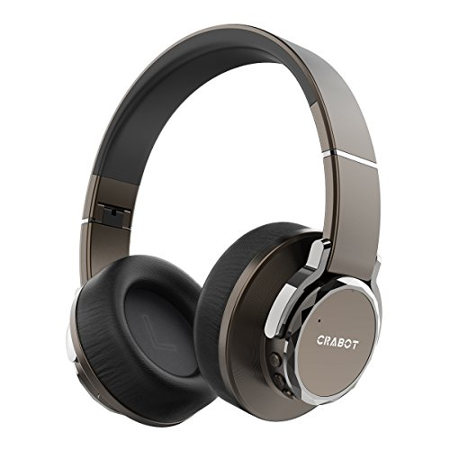 Crabot C5 Bluetooth 4.1 Over Ear Headphones, Hi-Fi Stereo, Deep Bass, Wireless Headsets with Noise-Isolation, Soft Protein Earmuffs, Built-in Mic, Lightweight, 24H Playtime, Wired Mode for TV Upgraded