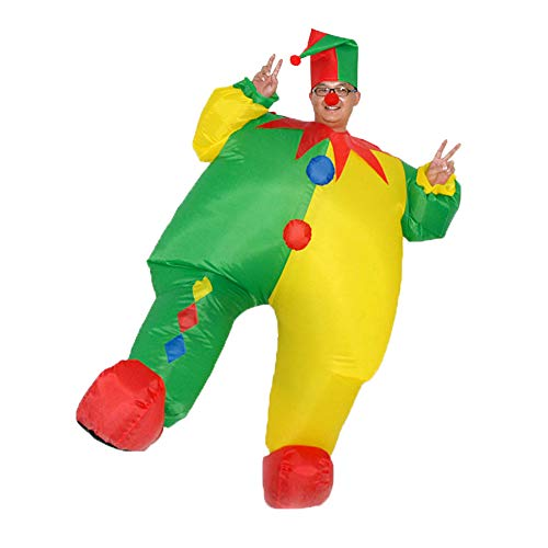 HUAYUARTS Inflatable Costume Clown Game Cloth Adult Funny Blow up Suit Halloween Men's Costume Yellow Cosplay, Plus Size -