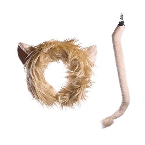 Wildlife Tree Plush Lion Ears Headband and Tail Set for Lion Costume, Cosplay, Pretend Animal Play or Safari Party Costumes -