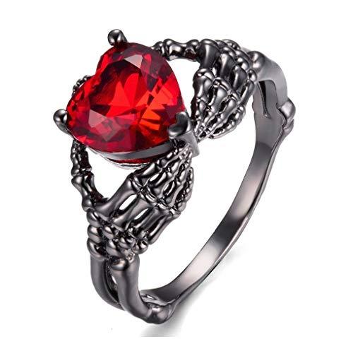 7 888 Easy Shop Black Gold eejart Hand Hold Heart Skeleton Ring Crystal Ruby Claddagh Ring