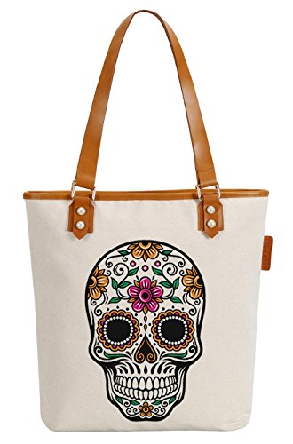 So'each Women's Floral Skull Canvas Tote Pearly Top Handle Shoulder Bag