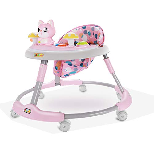 Baby Walkers, 6-18 Months Baby Foldable Anti-Rollover Can Sit and Push for Toddlers Walker Prevent Rollover Multi-Function Trolley (Color : Pink)