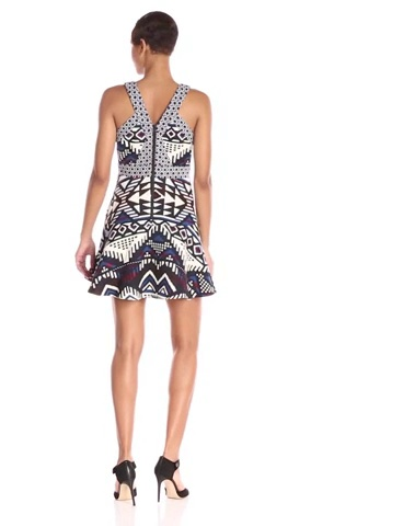 Parker Womens Andover Fit-and-Flare Jacquard Dress