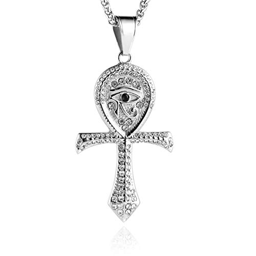 HZMAN CZ Eye of Horus Egypt Protection Pendant Coptic Ankh Cross Religious Stainless Steel Necklace (Silver) ()