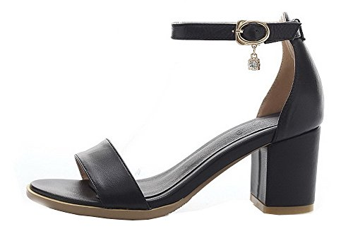 Cow WeenFashion Heel Leather Black Material Sandals Kitten M B Soft Womens Open Chunky 7 US Solid Heels Toe f0xUn0wr