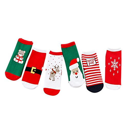 Fheaven 6 Pair Baby Kids Christmas Casual Socks Cute Unisex Cotton Socks Warm (9-12T) by Fheaven