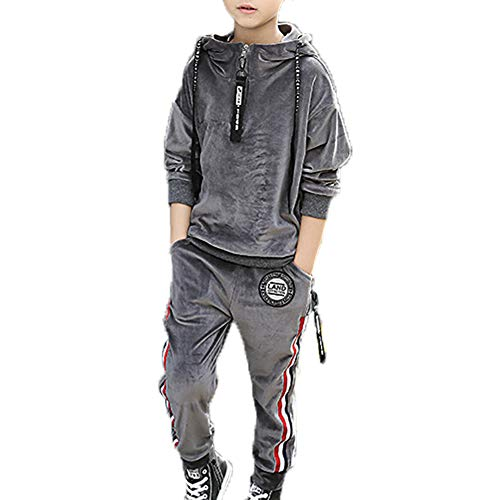 Monvecle Toddler to Big Boys' 2 Piece Long Sleeve Soft Velour Hoodie Tracksuit Top + Sweatpant Jogger Sets Charcoal 6-7