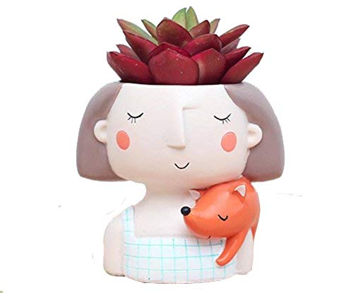 - Clound city Cute Girl Shaped Cartoon Succulent Planter Pots for Office,Window,Kitchen and Balcony (1pcs)