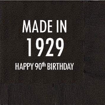 90th Birthday Napkins - 90th Birthday Black Cocktail Napkins -