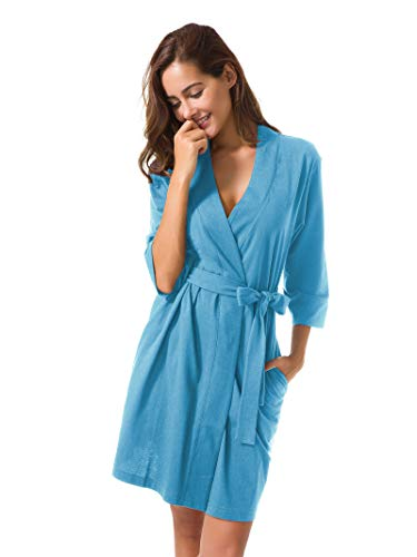 SIORO Women s Kimono Robes Cotton Lightweight Bath Robe Knit Bathrobe Soft  Sleepwear V-Neck Ladies Nightwear - Buy Online in UAE.  fd2e96186