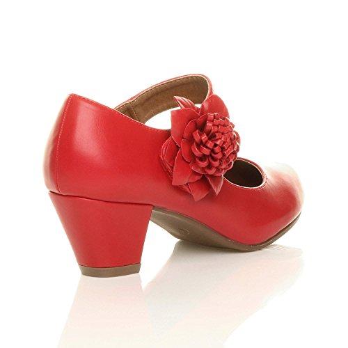 Damen Mitte Blockabsatz Lederfutter Komfort Blume Mary Jane Schuhe Pumps Größe Rot