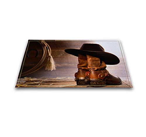 LB Western Cowboy Boot Hat Rustic Barn Wood Small Shower Carpet, Slip Proof Rubber Backing Microfiber Surface, Texas Country Theme Bathroom Rug 15 x 23 Inches by LB (Image #4)