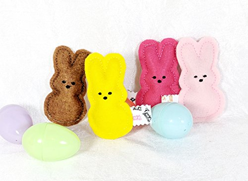 ter Cat Toys - Catnip Cat Toys -. Pack of 4 Easter 'Marshmallow Bunnies' - Assorted Colors Cat Toys - Kitty Catnip Toys - Spring Felt Kitty Toys ()
