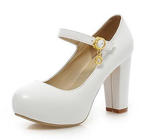 AllhqFashion Damen Weiches Material Schnalle Rund Zehe Rein Pumps Schuhe Weiß