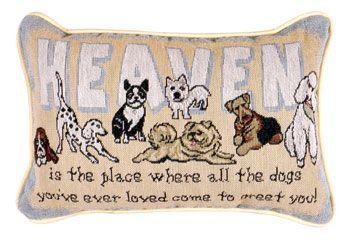 Simply Home Heaven Is The Place Dogs Decorative Tapestry Toss Pillow USA Made SKU: P80-GREET (Dog Tapestry Pillow)