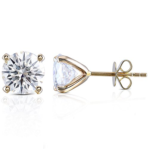 14K Yellow Gold 1.2CTW 5.5mm Width H Color Moissanite Simulated Diamond Stud Earrings Push Back for Women 14k Yellow Gold Moissanite Earrings