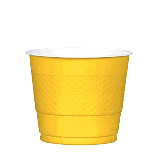 Reusable Party Cups Tableware, Yellow Sunshine, Plastic , 9 Ounces, Pack of 20