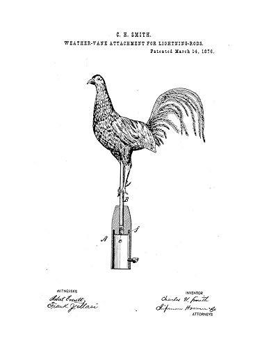 "Weather-Vane Attachment Lightning-Rods Patent Print White Matte (8"" x 10"") M14045"