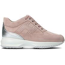 HOGAN Women's HXW00N00E30IDZ0PCG Pink Suede Sneakers