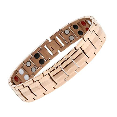 Stainless Steel Magnetic Therapy Bracelet Golf 4 Element Double Row Pain Relief for Arthritis and Carpal Tunnel-Rose Gold (Stainless Steel Magnetic Golf)