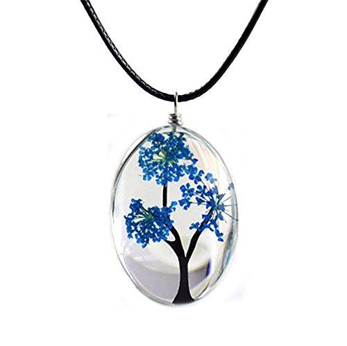 Tounique Necklace Girls Dried flower Pendant Stars Life Tree Diy Handmade Glass Ornaments Womens (Blue) (Flower Glass Ornament)