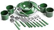 STANSPORT - Deluxe 24-Piece Enamel Tableware Set: Plates, Bowls, Mugs & Uten