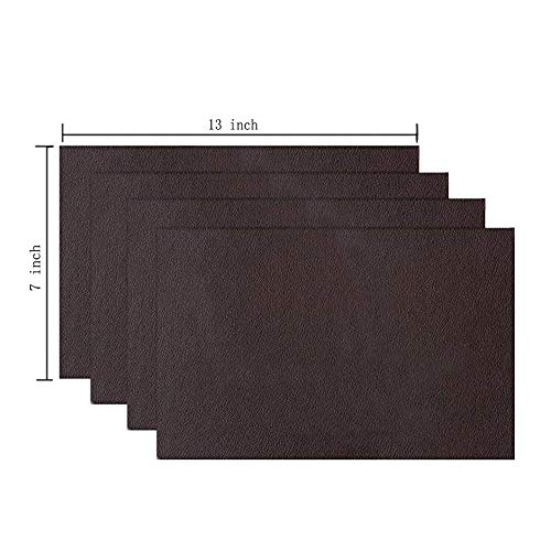 - 4 Pieces Leather Patch, Adhesive Backing Leather seat Patch for Repair Sofa, Car Seat, Jackets, Handbag, 13 by 7 Inch, Dark Brown