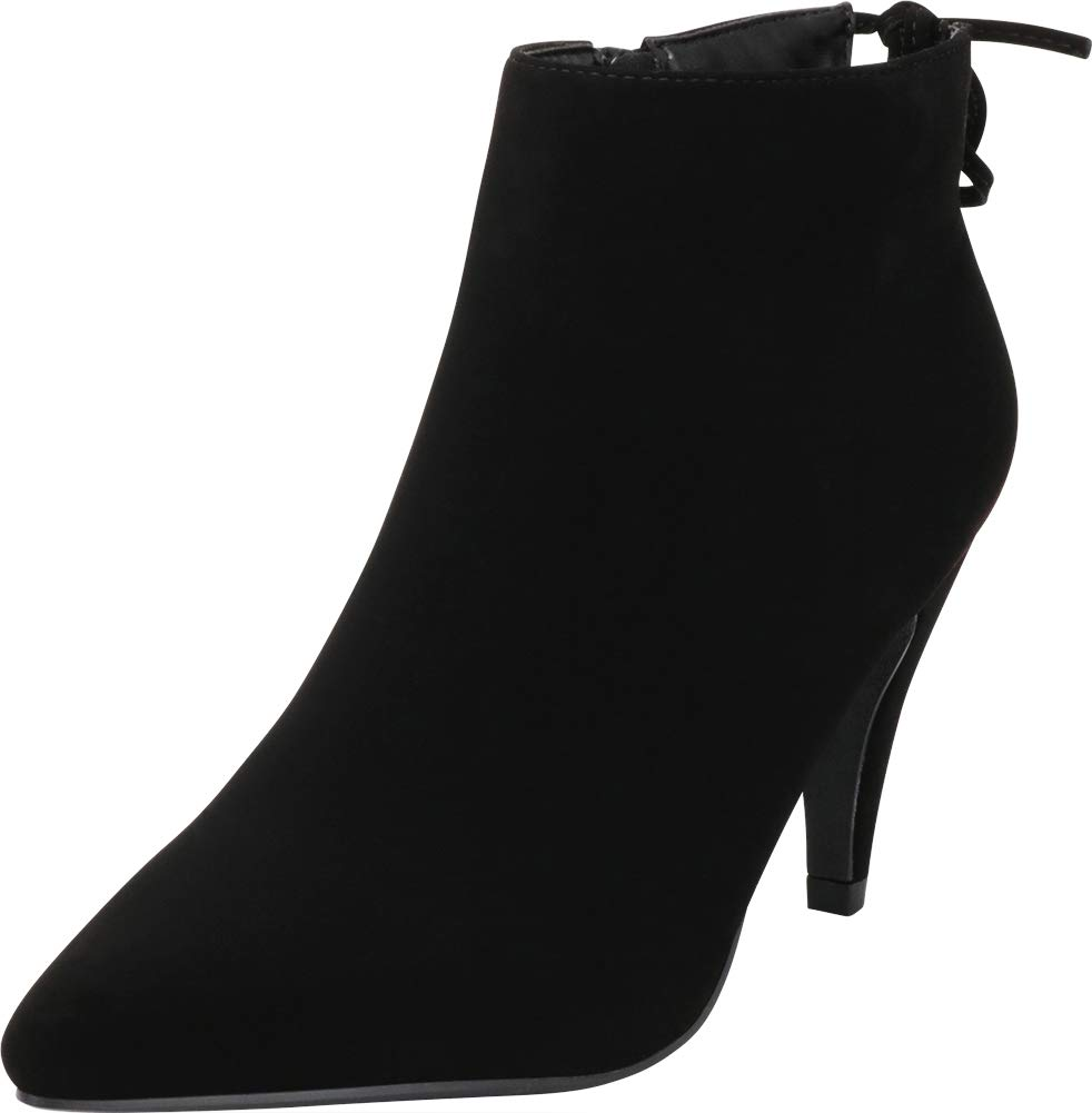 a723472fa3542 Cambridge Select Women's Pointed Toe Back Tie Mid Heel Ankle Bootie,7.5  B(M) US,Black NBPU