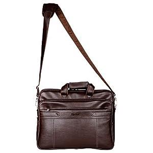 Medlar Leather 15.6 inch Laptop Formal Office Brown Messenger Briefcase Bag with Adjustable Shoulder Cross Body Sling Strap for Men & Women (Unisex)