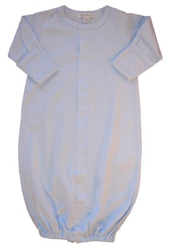 Kissy Kissy Baby Dots Convertible Gown-Blue with White Dots-Preemie