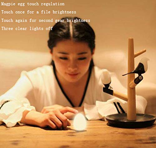 OVIIVO Creative Table Lamp Desk Lamp Magnetic Bedside Wooden Magpie Led Light USB Rechargeable Human Motion Smart Sensor Optically Controlled Nightlight 2 Levels Dimmer, Using for Reading, Worki by OVIIVO (Image #1)