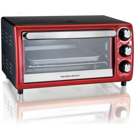 Hamilton Beach 4-Slice Toaster Oven, Red