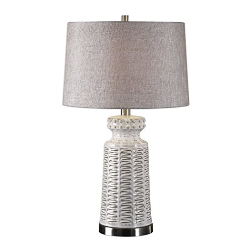 Embossed Ivory White Table Lamp Tribal Lattice Pattern Rustic