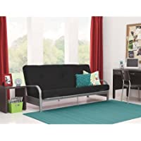 Mainstays Silver Metal Arm Futon Frame with 6' Mattress,Black