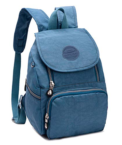 Mini Water-resistant Nylon Backpack for Women Girls Small Backpack Purse Lightweight Travel Daypack for Hiking Sports Outdoor Diseny Disenyland (Solid Light Blue)