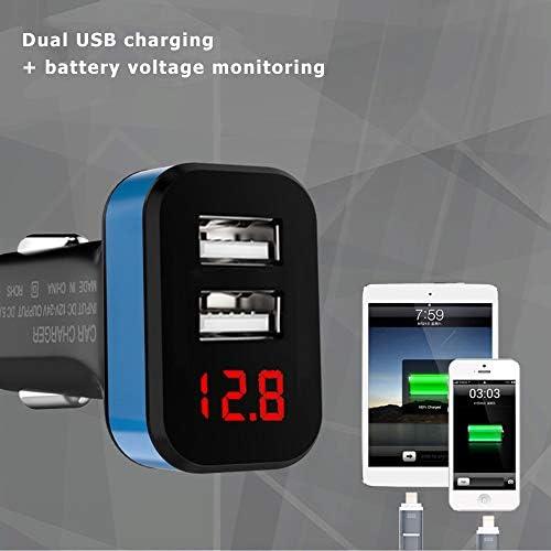 BSTUB Cargador de Coche con Pantalla LED con Carga R/ápida Doble USB Puerto Indicador de Voltaje Adaptador del Encendedor de Cigarrillos Autom/óvil