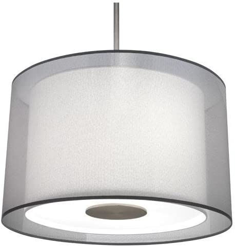 Robert Abbey S2193 Pendants with Silver Transparent Exterior and Ascot White Fabric Interior Shades, Stainless Steel Finish