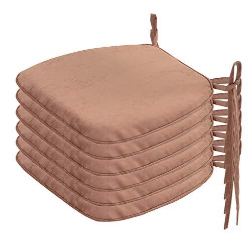 Nobildonna 6 Pack 17″ x 16″ Memory Foam Chair Pad with Ties Nonslip Chair/Seat Cushion Pad (Tan)