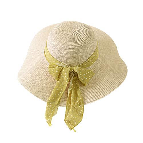 - OUOK 2019 New Summer Female Sun Hat Bow Ribbon Panama Beach Hats for Women Chapeu Feminino Sombrero Floppy Straw Hat,Beige Yellow Ribbon