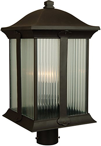 Halophane 3 Light - Craftmade Z4125-92 Post Mount Light with Halophane Glass Shades, Bronze Finish
