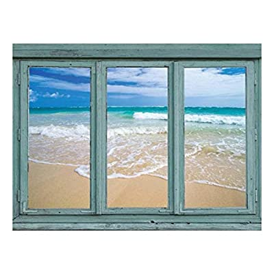 Astonishing Portrait, Serene isloated Beach with Gentle Lapping Waves Sand and Sun Wall Mural, Made With Top Quality