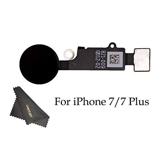 VANYUST Replacement Home Button Key Flex Cable Assembly with Rubber Ring Compatible for iPhone 7 and 7 Plus (Black) + VANYUST Cloth