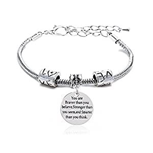 lauhonmin Adjustable Bangle You're Braver Stronger Smarter Than You Think Bracelet Family Friend Gift for Women Men