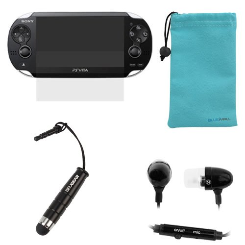 BIRUGEAR Clear LCD Screen Protector Film Guard + Black Mini Ultra responsive Stylus with 3.5mm Adapter Plug + Black 3.5mm Metal Stereo Headset Handsfree Soft Gel Earbud with Microphone for (Case Headset Lcd Stylus)